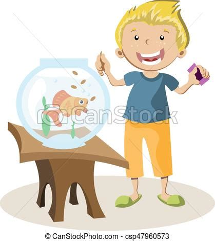 boy feeding little fish in their fish tank. vector