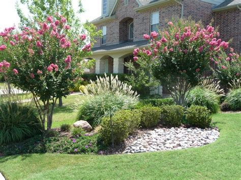 backyard bushes flower plants trees green meadows landscaping design