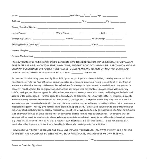 20 Sle Medical Release Forms Sle Forms Youth Sports Waiver Form Template