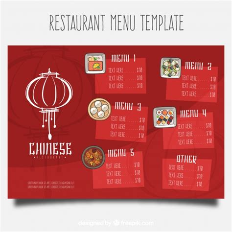chinese restaurant menu template vector free download