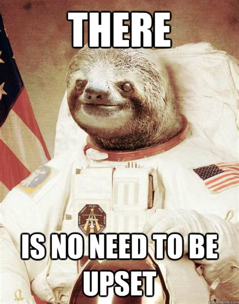 Fuck Bitches Get Money Meme - there is no need to be upset astronaut sloth quickmeme