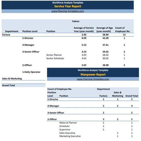 workforce plan template exle workforce analysis report in excel spreadsheet manpower