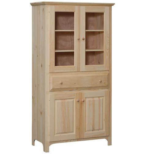 38 inch washington pantry with glass bare wood