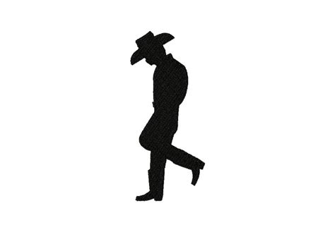 free cowboy stance silhouette machine embroidery design