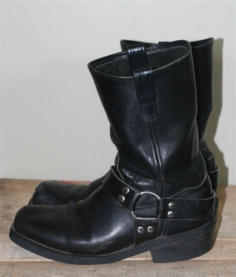 mens leather harness boots vintage s black leather harness boots size 10d by