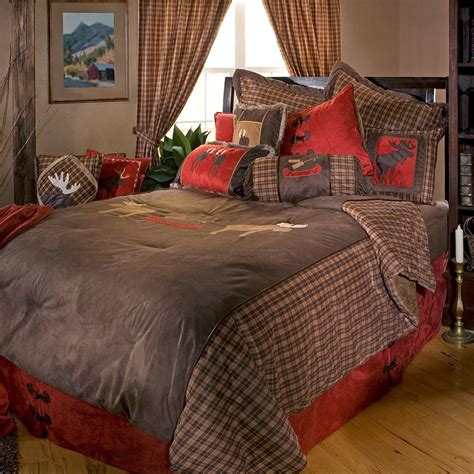 Moose Plaid Comforter Sets Cabin Place Moose Bedding Set