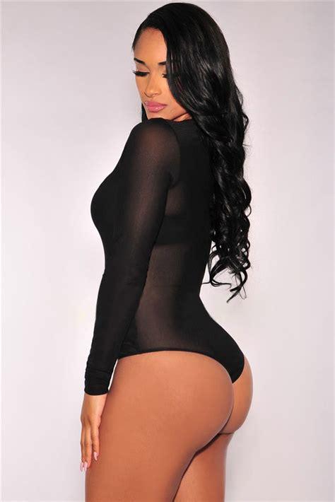 Sleeve Sheer Bodysuit cheap black sleeve sheer mesh bodysuit wholesale
