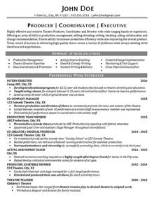 Theatre Producer Sle Resume by Theater Resume Exle Entertainment Production Arts
