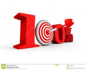 Stock illustration hundred percent 100 red symbol with target and