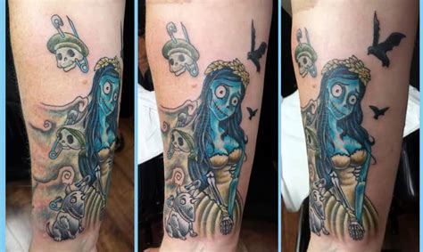 corpse bride tattoo watercolor corpse on thigh by jackson