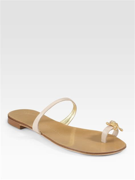 sandals with toe ring giuseppe zanotti jeweled toe ring sandals in beige lyst