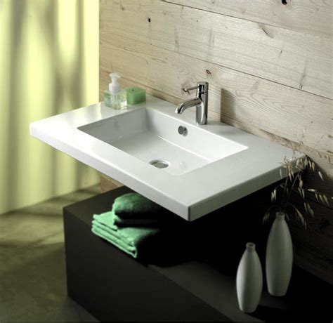 wide bathroom sinks wide rectangular ceramic wall mounted above counter or