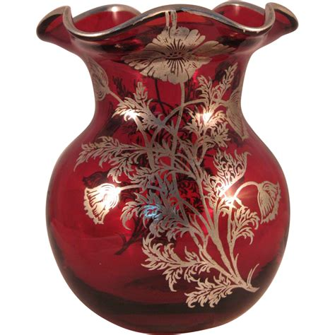 Vase With Top Vintage Ruby Ruffle Top Vase With Silver Floral