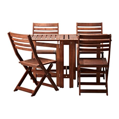 Folding Garden Table And Chairs 196 Pplar 214 Table And 4 Folding Chairs Outdoor 196 Pplar 246 Brown Stained Ikea