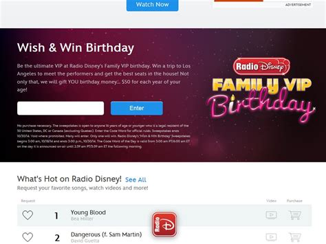 Birthday Sweepstakes - disney radio wish win birthday sweepstakes