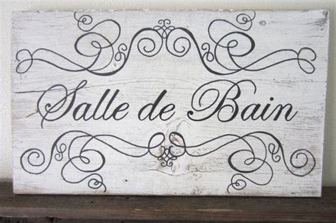 french bathroom sign salle de bain french bathroom decor barnwood sign by