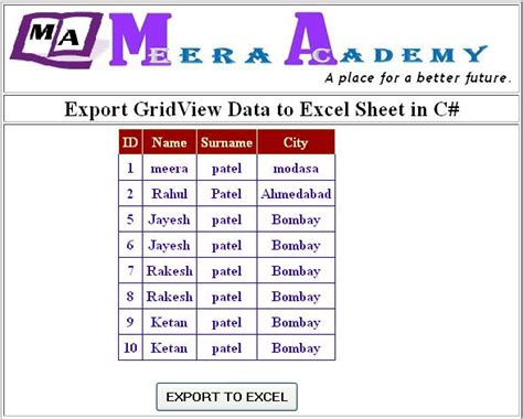 how to export data from gridview to excel sheet in c how to export data from gridview to excel sheet in c