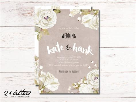 printable wedding invitation suites wedding invitation template printable rustic invitation