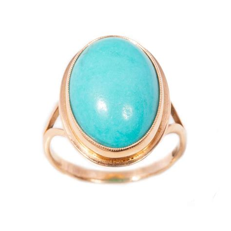 handmade turquoise ring in 14ct gold antique vintage