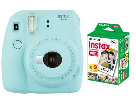 light blue polaroid fujifilm instax mini 9 instant polaroid