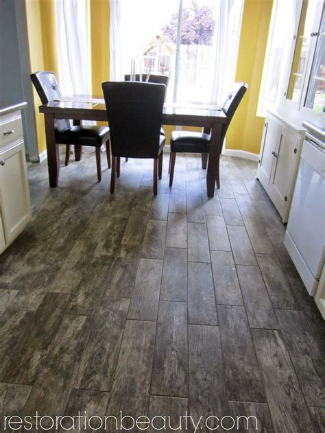 faux wood tile flooring in the kitchen porcelain tiles