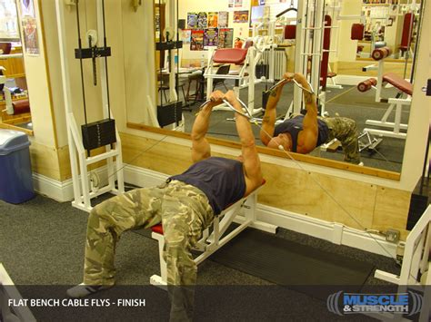 flat bench cable fly flat bench cable flys video exercise guide tips muscle