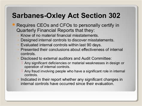 sarbanes oxley section 302 section 302 sarbanes oxley sarbanes oxley presentation