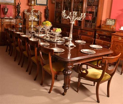 Antique 12 foot victorian dining table circa 1860 and 14 chairs at 1stdibs