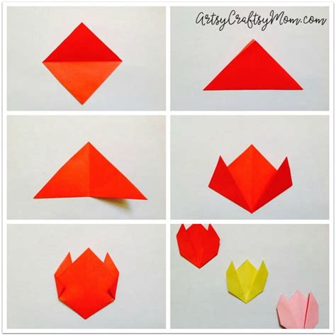 Simple Paper Flowers For Children To Make - easy origami tulip craft for artsy craftsy