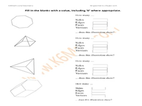 printable math worksheets faces edges and vertices shapes sides edges faces and vertices 5th 6th grade