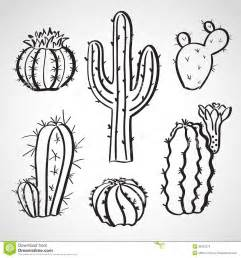 cacti templates ink style sketch set cactus set royalty free stock