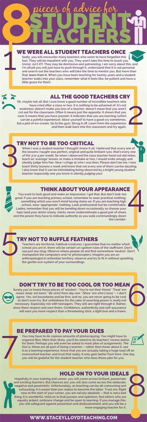 teaching tips tricks a professor s guide to thriving and surviving in the college classroom books 8 pieces of advice for student teachers infographic e
