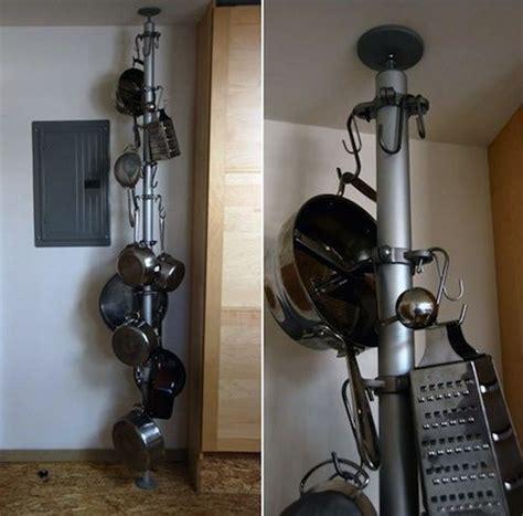 Vertical Hanging Pot Rack 5 Diy Pot Racks Cookware Storage Ideas