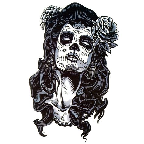 temporary tattoo santa muerte b amp w artwear tattoo