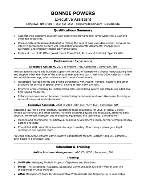 executive administrative assistant resume sle