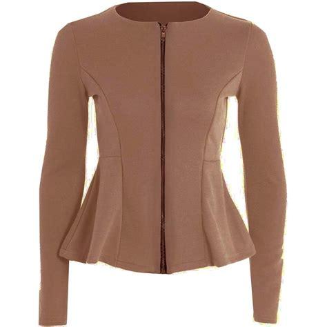 Jaket Bb Size By Fidhe Shop new womens top tailored zip peplum ruffle blazer