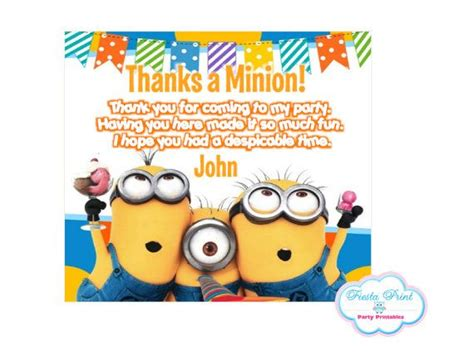 minion thank you cards template 17 best images about minion on minions