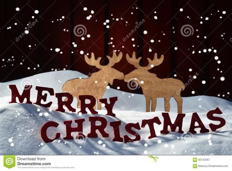 card red letter moose couple snow merry christmas snowflakes stock photo image