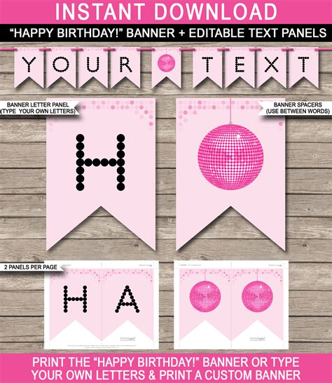 diy birthday banner template banner template disco birthday banner editable bunting