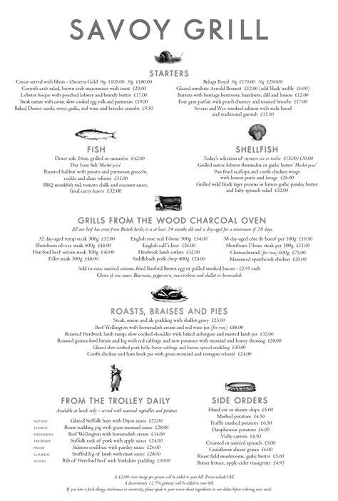 Savoy Kitchen Menu by Menus Savoy Grill Gordon Ramsay Restaurants