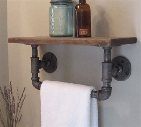 Porch Hangers by Industrial Pipe Hand Towel Rack With Wood Shelf