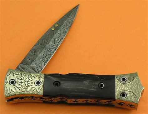 Custom Handmade Folding Knives - engraved damascus folding knife custom handmade damascus steel