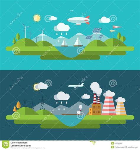 design environment nature flat design vector ecology concept illustration stock