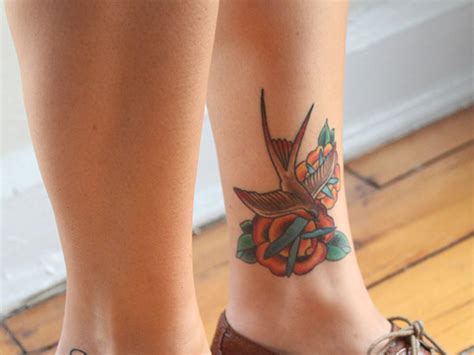lower leg tattoo flower and butterfly leg tattoos