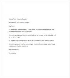 personal thank you letter template 9 sle thank you notes free sle exle format