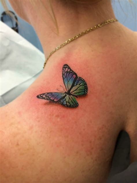 milwaukee tattoo designs 3 d butterfly on shoulder tattooed by chris burke at