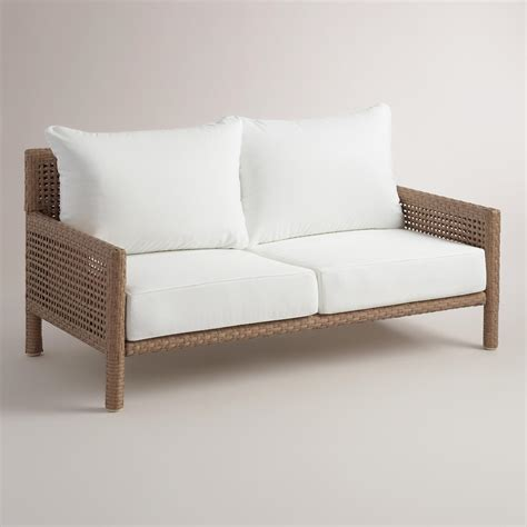 all weather wicker bench all weather wicker vailea outdoor occasional bench world