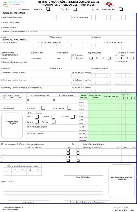 ingresos grabables inss inss formatos en excel elaborados por el inss formato p