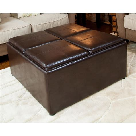 storage ottoman coffee table avalon coffee table storage ottoman with 4 serving trays brown 225747 living room at