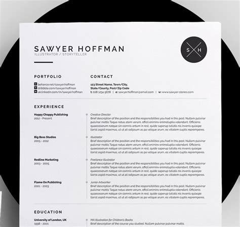 8 Creative And Appropriate Resume Templates For The Non Graphic Designer Design Galleries Black And White Resume Template
